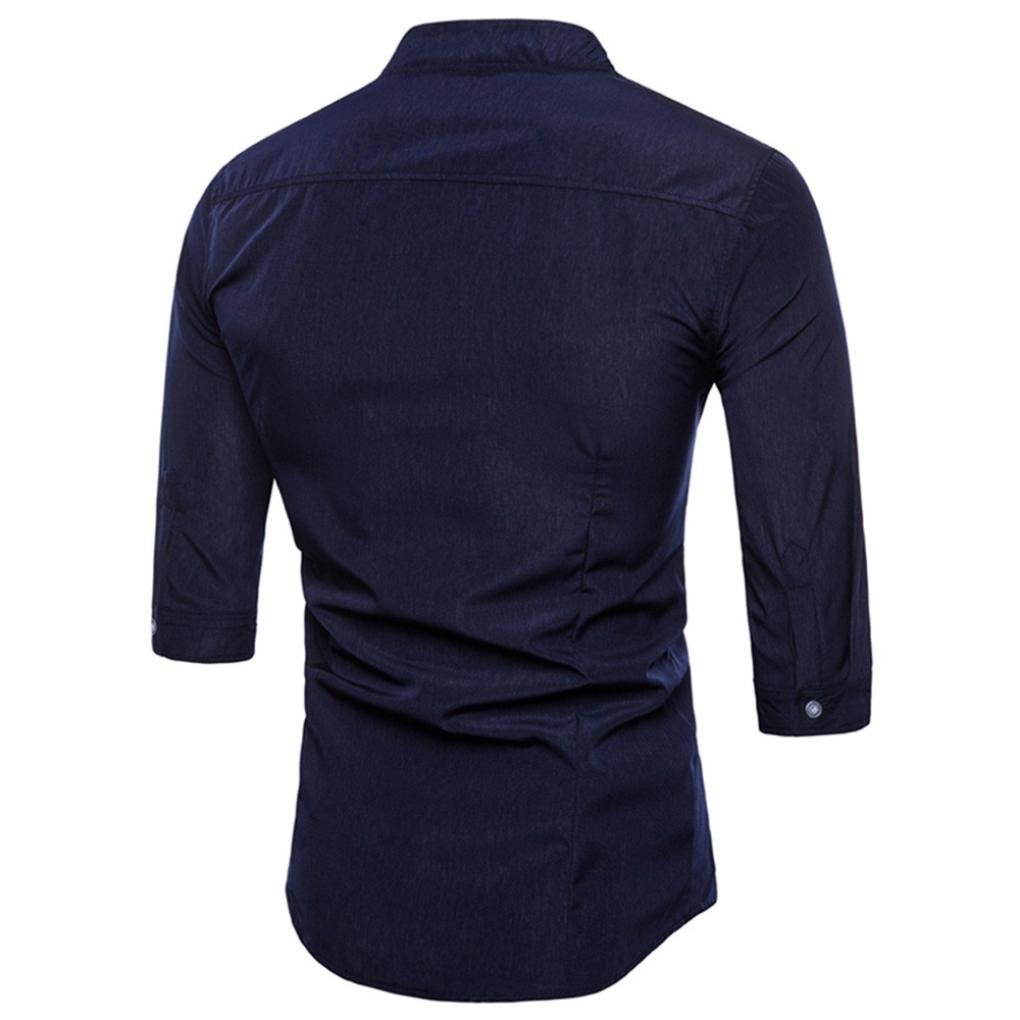 Pervobs Long Sleeve Shirts, Big Promotion! Mens Casual Solid Half Sleeve Formal Suits Slim Fit Tee Dress Shirts Blouse Top (M, Navy) by Pervobs Mens Long Sleeve Shirts (Image #2)