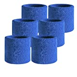 Wrist Sweatbands, Cotton Wristband for Sports, Left & Right Sleeves, Sports Basketball Football Absorbent Wristband Party Outdoor (Blue, 3.5inch Long Pack of 10)