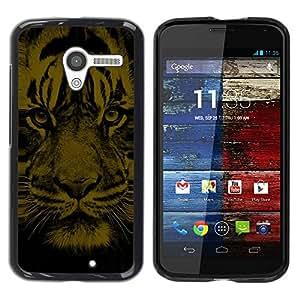 Paccase / SLIM PC / Aliminium Casa Carcasa Funda Case Cover para - Tiger Face - Motorola Moto X 1 1st GEN I XT1058 XT1053 XT1052 XT1056 XT1060 XT1055