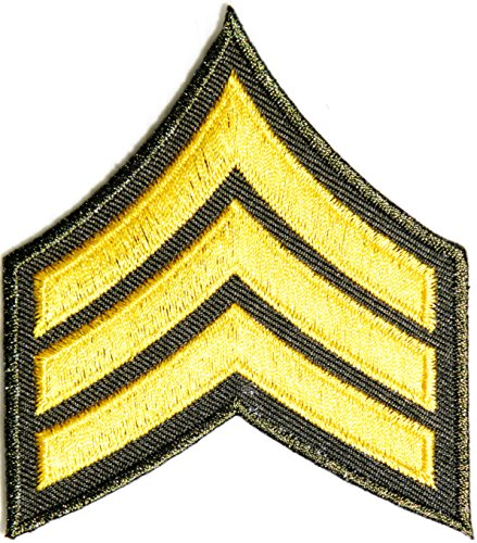 Army Sergeant Military Rank Chevron Logo Tab Jacket Uniform Patch Sew Iron on Embroidered Sign Badge ()
