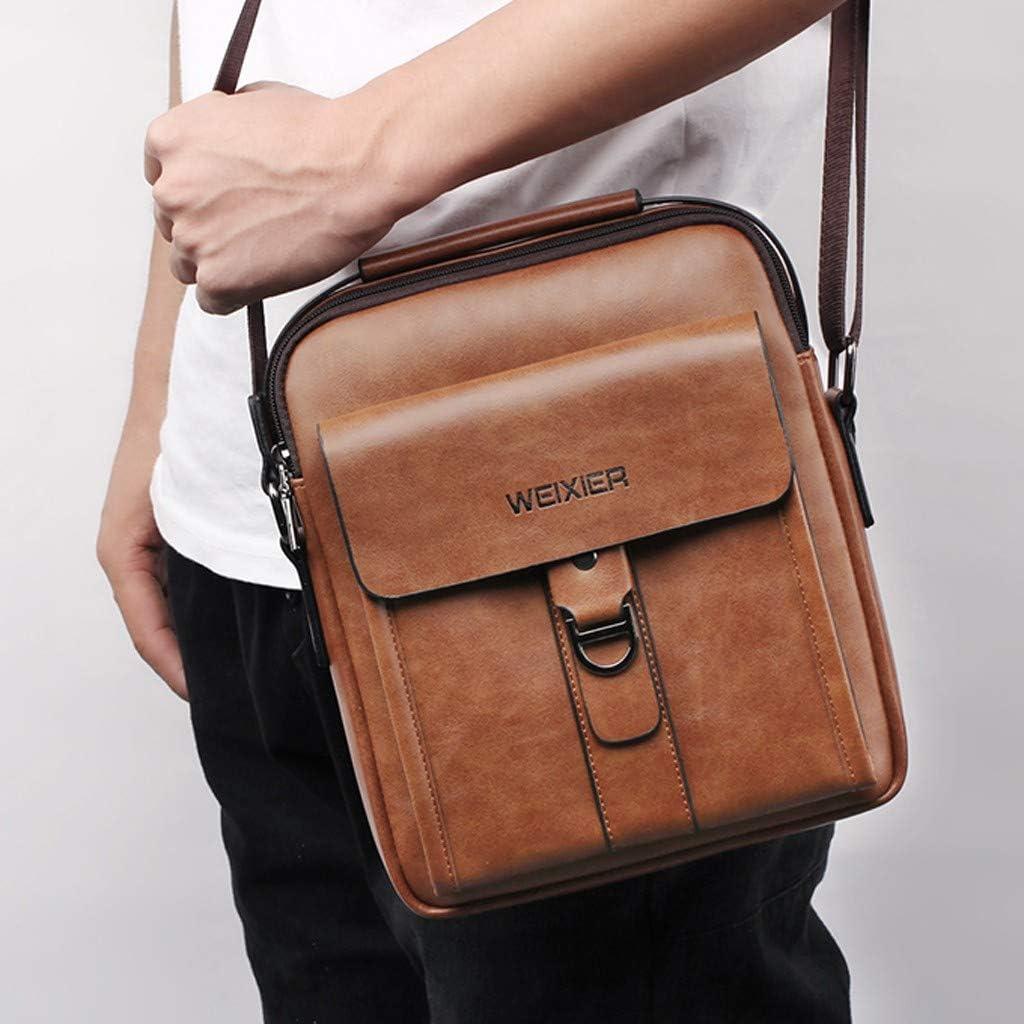 AopnHQ Messenger bag for men,Vintage Leather Canvas Satchel Crossbody Shoulder Bag Travel Wallets Mini-Bags