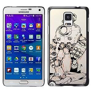 TopCaseStore / la caja del caucho duro de la cubierta de protección de la piel - Metal Futuristic Sketch - Samsung Galaxy Note 4 SM-N910F SM-N910K SM-N910C SM-N910W8 SM-N910U SM-N910