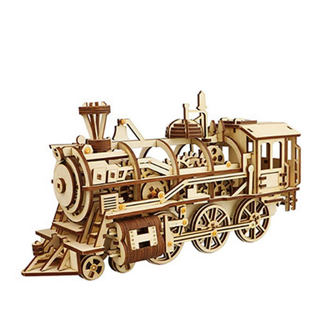 Laser Schneiden 3D Holz Puzzle Lokomotive Handwerk Modell Mit Mechanischen Getriebe Spielzeug für Jungen und Mädchen (Locomotive)
