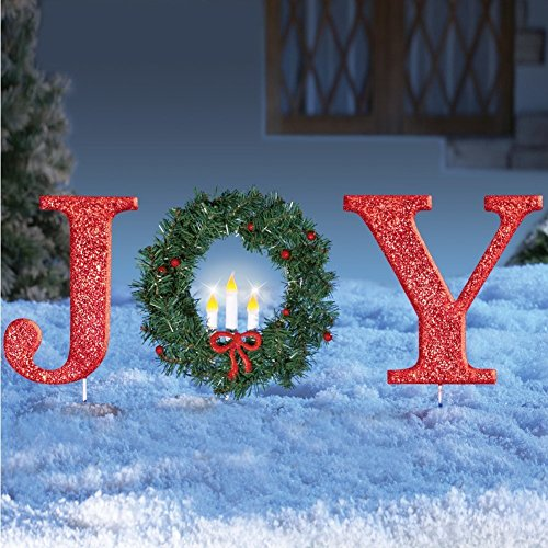 mas Stake Lighted Christmas Outdoor Yard Decoration Joy or Peace (Joy) ()