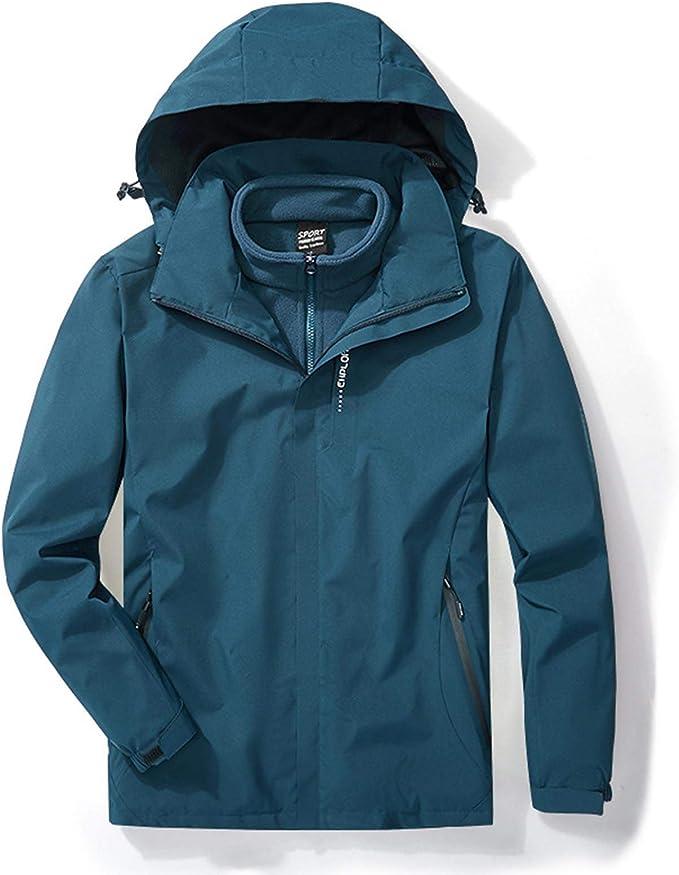 メンズアウトドアラッシュジャケットメンズ3-In-1ラッシュジャケットロッキングフリースライナー防水防止暖かい暖かい作業服2セット