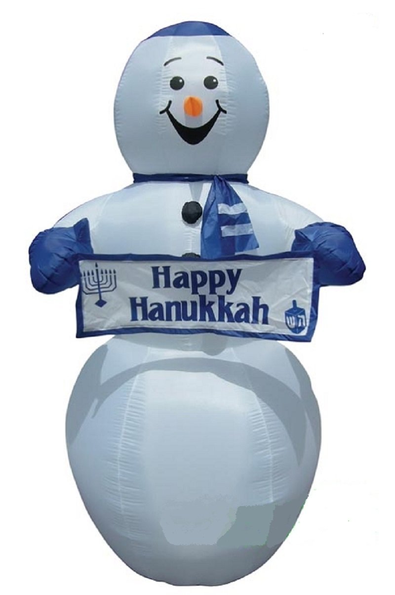 HANUKKAH INFLATABLE 7' TALL SNOWMAN WITH YAMAKA HOLDING HAPPY HANUKKAH BANNER by Unknown