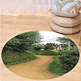 VROSELV Custom carpetHobbits Elf Path in Woods of Hobbit Land in The Shire New Zealand Hobbiton Movie Set Image Bedroom Living Room Dorm Decor Green Brown Round 72 inches