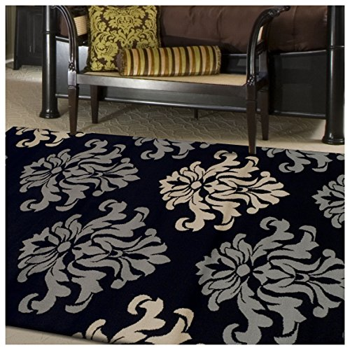 Superior Designer Casper Collection Area Rug, 8mm Pile Height with Jute Backing, Chic Tonal Damask Pattern, Anti-Static, Water-Repellent Rugs - Black, 8' x 10' Rug (Floral Rug Damask)