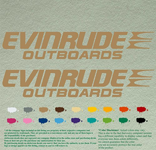 Pair of Evinrude Outboards Decals Vinyl Stickers Boat Outboard Motor Lot of 2 (12 inch, Light Brown 081)
