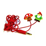 DCI Earbuds, Gnome and Mushroom Headphone Earbuds - Red