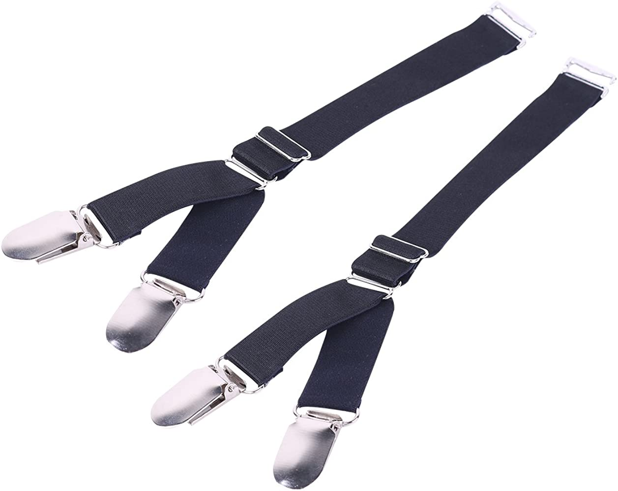 Ericotry 1 Pair 2PCS Multifuction Adjustable Elastic Stocking Clip Garter Suspender Belt Accessories with Straps and Clips for Stockings Black Y style