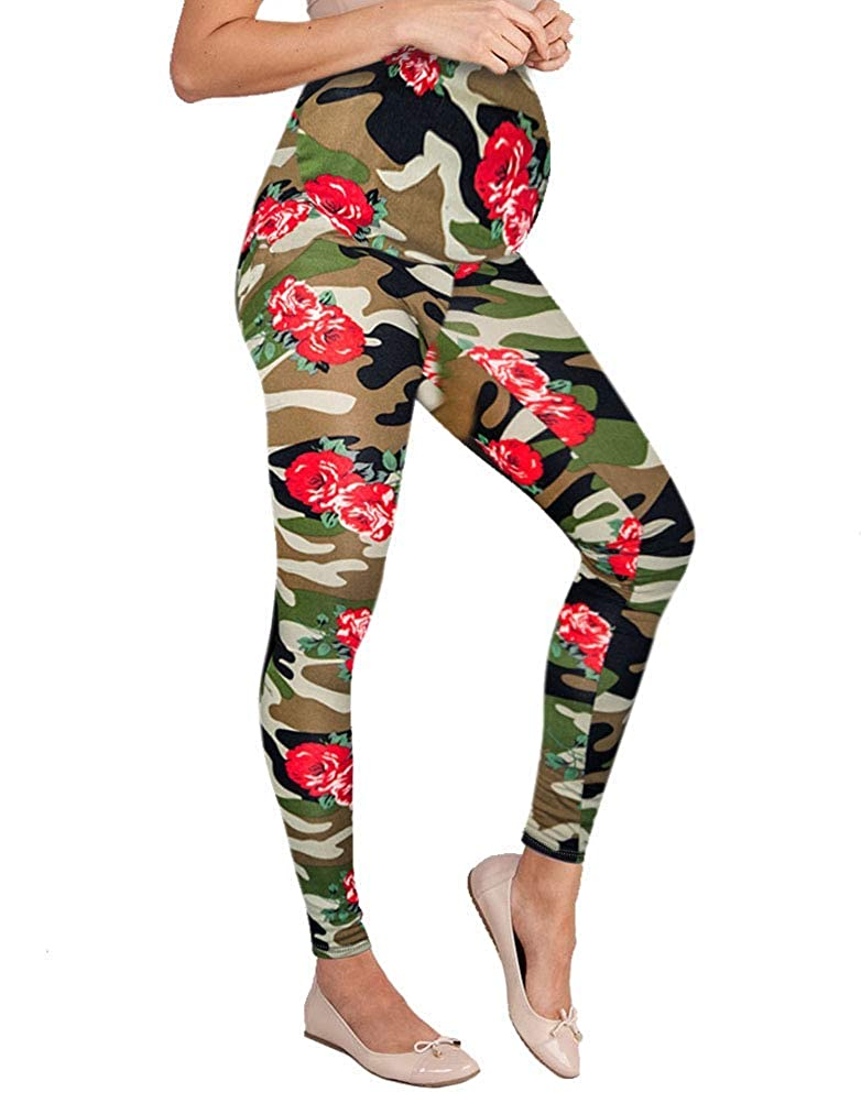 10987camouflage Hybrid & Company Women's Super Comfy Maternity Leggings Made in USA