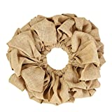 VHC Brands Christmas Holiday Decor - Burlap Tan Round Wreath, Natural, 15'' Diameter