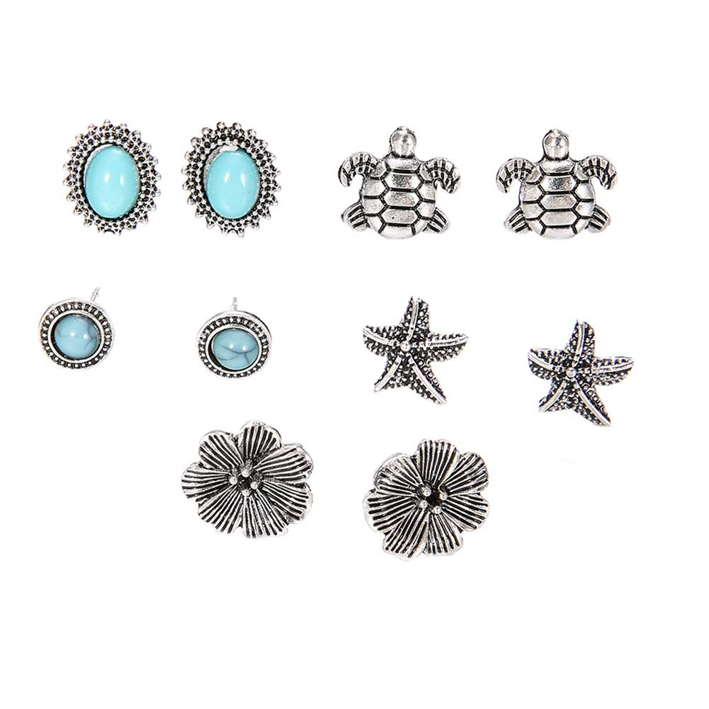 5 Pairs Starfish Turtle Flowers Artificial Turquoise Boho Stud Earrings Jewelry - Antique Silver