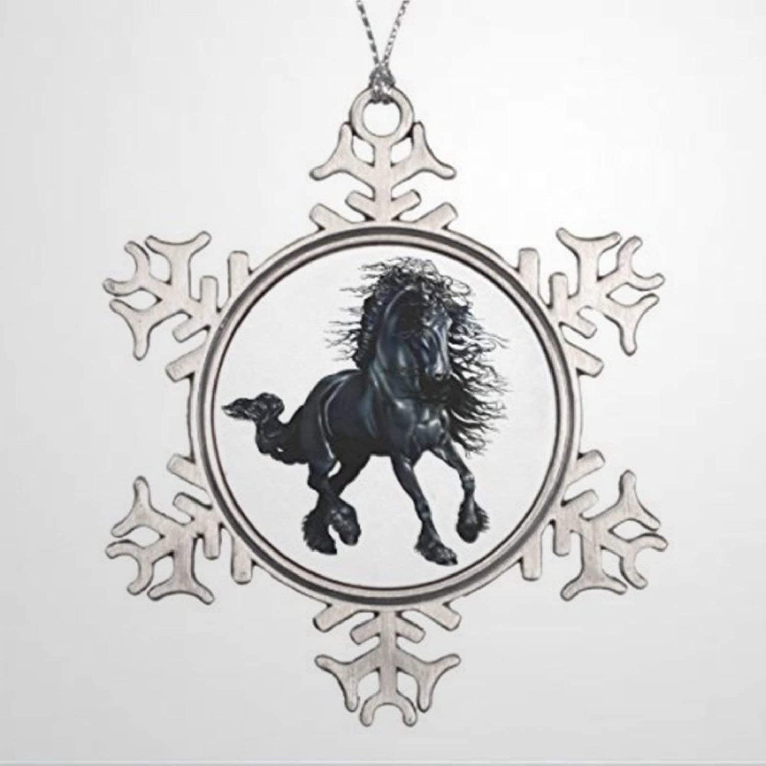 DONL9BAUER Christmas Ornament Friesian Stallion Horse, The Black Beauty Holiday Tags Metal Snowflake Pendant Xmas Decor for Anniversary Christmas Tree Hanging