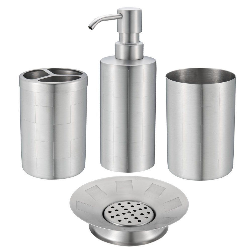 Amazon.com: Stainless Steel Bath Set: Soap Dispenser, Toothbrush ...