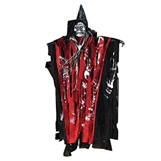 LTOOLA Halloween Horror Props Haunted House Decoration Giocattoli Elettrici Sound-Emitting Voice-Activated Skull Ghost Head Piccolo Hanging Ghost,Red