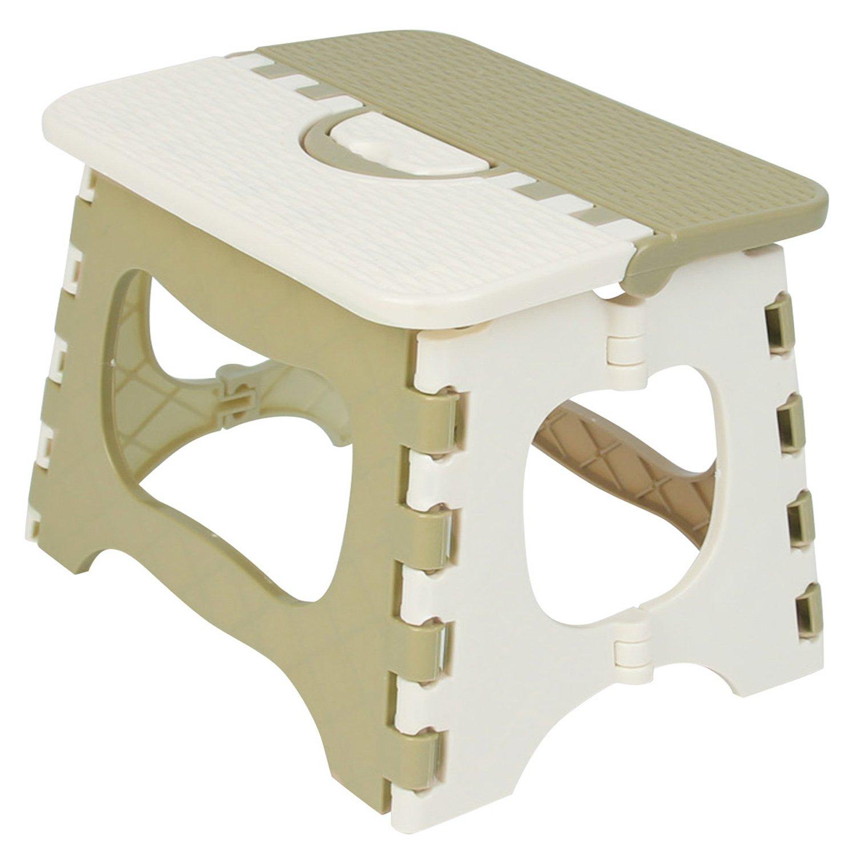 Kihappy - Sgabello pieghevole antiscivolo, sicuro e robusto, dotato di manico per il trasporto, adatto per la casa, la cucina e il bagno, per neonati e bambini