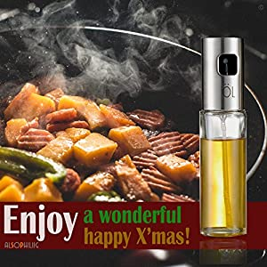 Oil Sprayer, Food-grade Glass Oil Dispenser Pump Stainless Steel Oil Sprayer Bottle for Salad/Bread Baking/Barbecue/ Grilling/ Frying