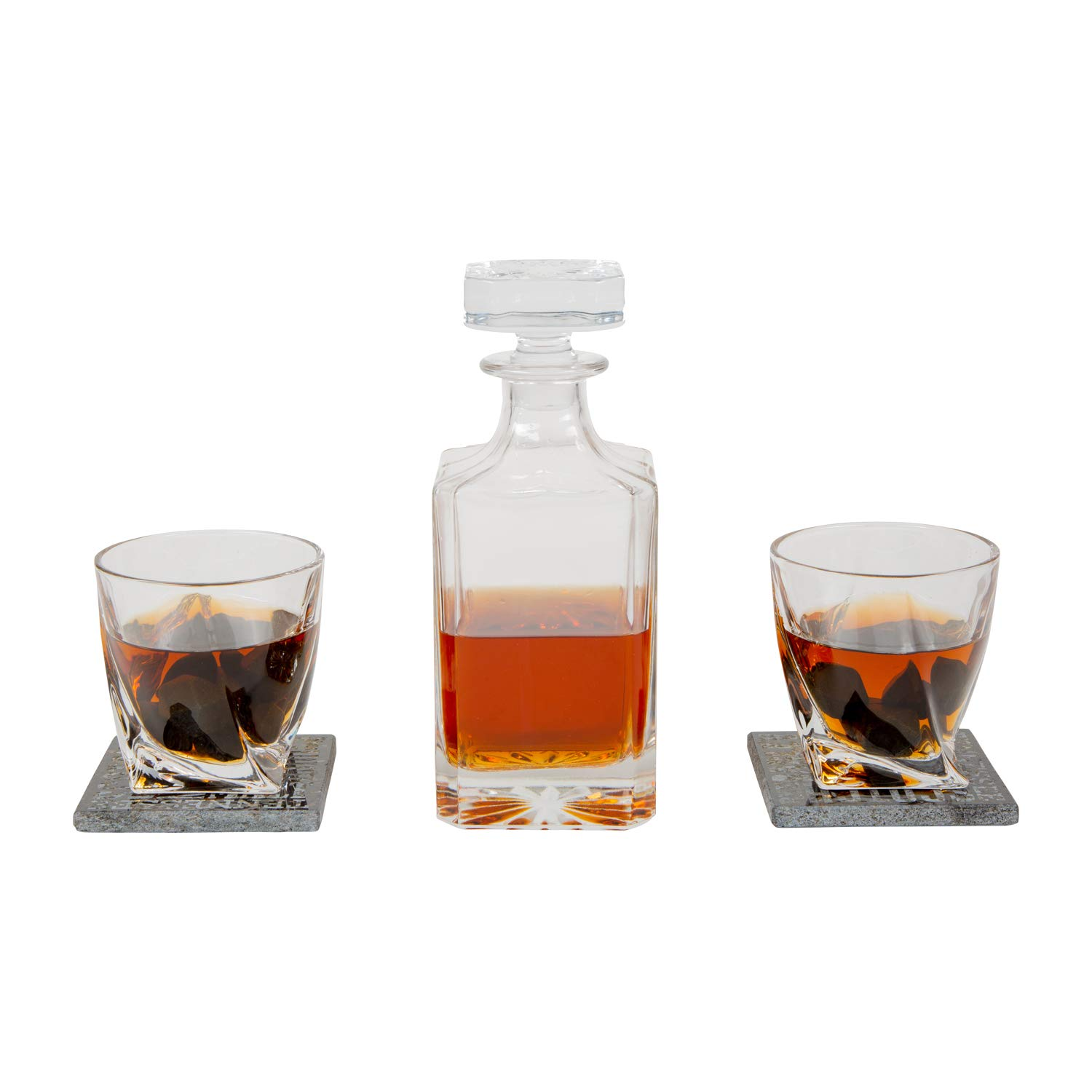 Atterstone Crate Whiskey Box Set with Premium Decanter and 2 Swirl Glasses, Includes 9 Chilling Stones and 2 Dark Stone Coasters, Encased in Polished Wood Box Great for Holiday and Wedding Gifts by Atterstone (Image #7)