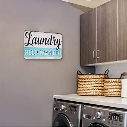 Goutoports Laundry Room Vintage Metal Sign Mum/'s Laundry Service White Decorative Signs Wash Room Home Decor Art Signs 7.9x11.8 Inch