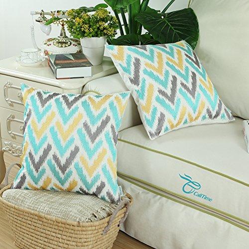 Vintage Throw Pillow Covers 18x18 : CaliTime Throw Pillow Covers 18 X 18 Inches,Vintage Ikat - Import It All