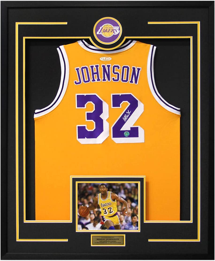 Magic Johnson Los Angeles Lakers Autographed 30x34 Framed Basketball Jersey