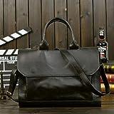 GEDASHAN Men's Shoulder Bags Men Leather Black Briefcase Business Handbag Messenger Bags Male Vintage Shoulder Bag Men'S Large Laptop Travel Bags