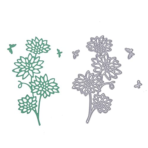 demiawaking flower plants cutting dies stencil for diy stamp photo scrapbooking album paper card making metal