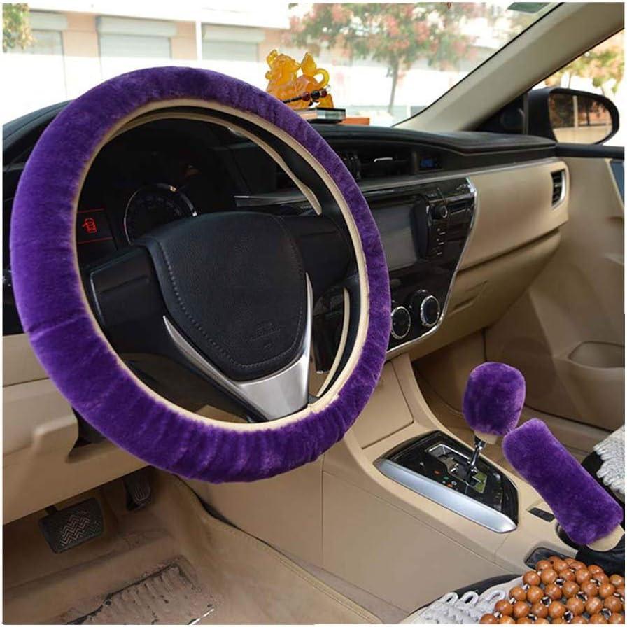 Couvercle de frein /à main Int/érieur de voiture universel-38cm Rose, 36-38cm 3pcs Hiver Faux laine Volant couvre Couverture de changement de vitesse