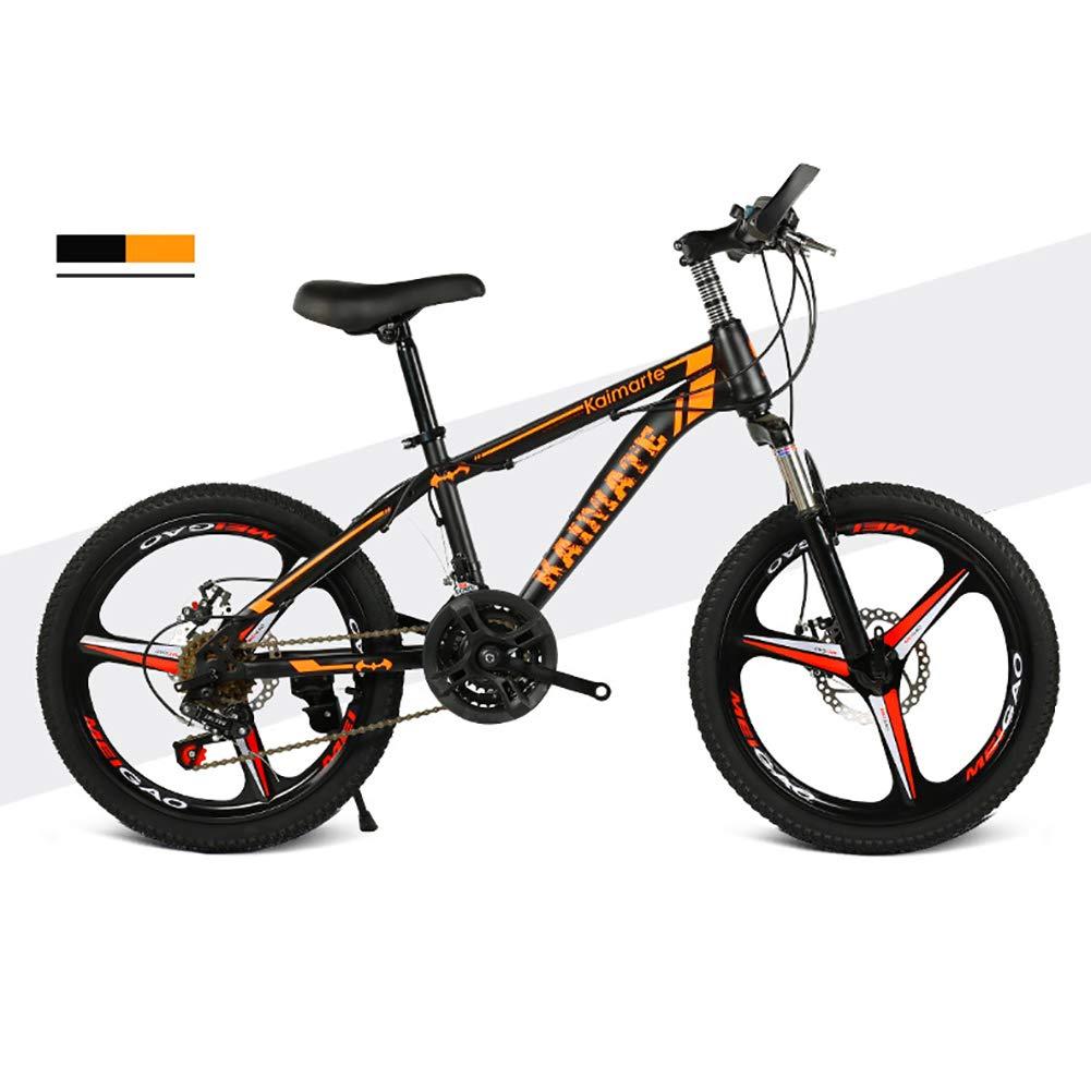 naranja Unisexo Bicicleta de montaña de suspensión 21 Velocidad Freno de Disco Doble Acero de Alto Carbono Estudiante Niño Ciudad del Viajero 20 Rueda de Bicicleta de montaña,amarillo