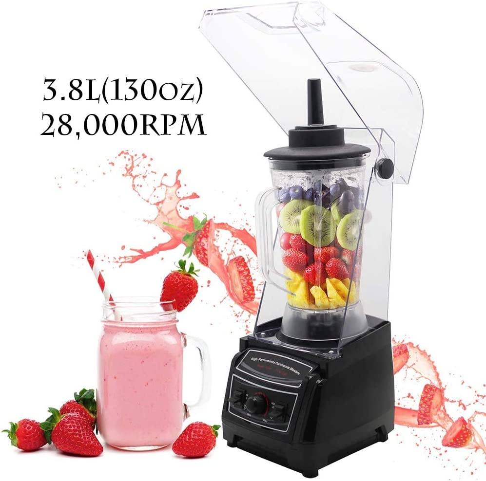 Huanyu Countertop Blender 130 oz 2200W with Speed Control Low Noise Cover for Fruit Smoothie Ice Soy Milk Hot Soups Frozen Desserts Crush Mix Home Commercial G6001 3.8L (110V US Plug)