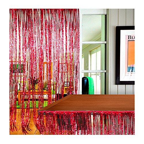 (Premium Set - Metallic Foil Fringe Door Curtain & Metallic Fringed Table Cover Skirt Runner (Red)