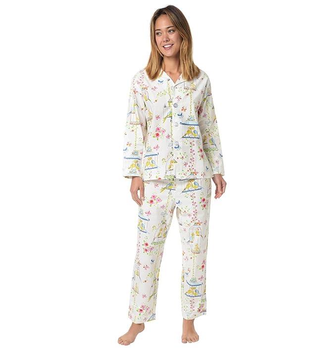 El Gato - algodón de las mujeres pijama Pajama Blanco blanco: Amazon.es: Ropa y accesorios