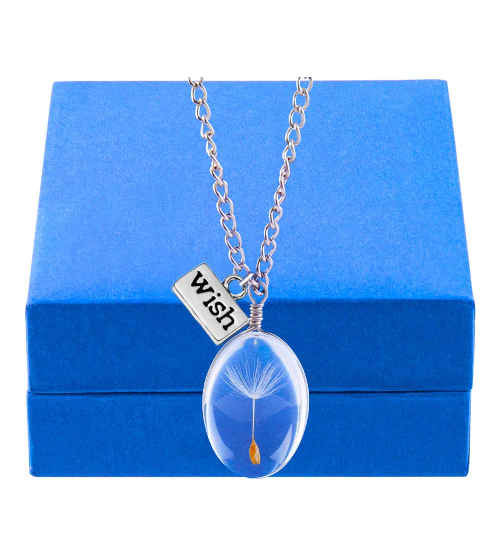 Dandelion Seed Pendant Wish Necklace Real Nature Flowers Seed with Crystal Clear Glass Charm Pendant Necklace Length 24.3\