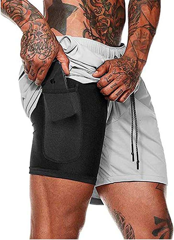 HANERDUN Men 2 in 1 Workout Running Athletic Shorts Sport Pants with Pocket