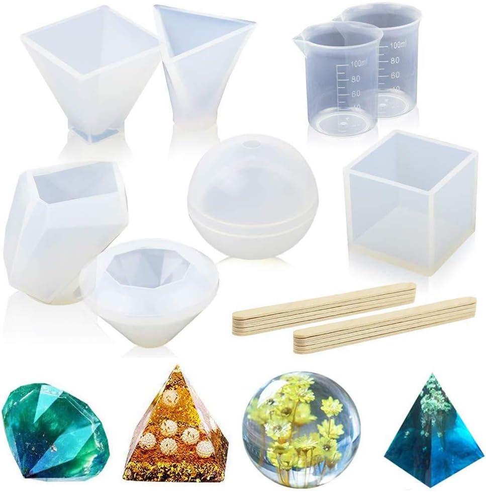 Chikanb Juego de 8Pcs Molde de Silicona para Fundición de Resina y Epoxi Incluye Cubo, Pirámide, Esfera, Diamante, Piedra con Taza de Medición de ...