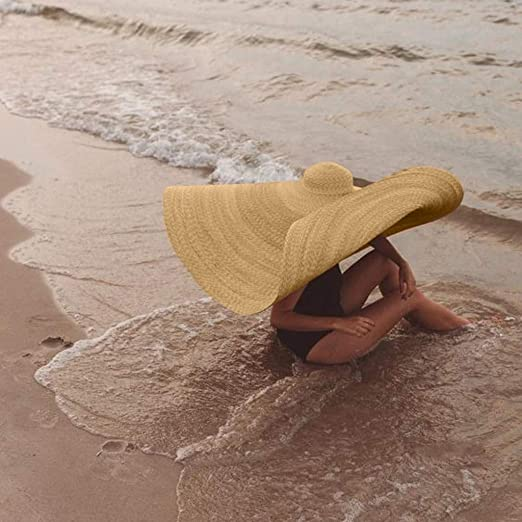 Damen und Herren /Übergro/ßer Strandhut Anti-UV Caps Farbe Natur TUDUZ Strohhut Sonnenschutz Hut aus Stroh f/ür den Sommer am Strand oder im Urlaub Faltbar Strohhut
