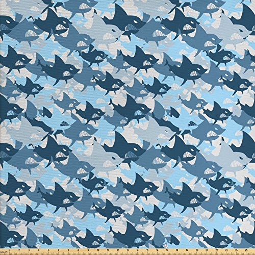 Lunarable Sea Animals Fabric by the Yard, Camouflage Pattern with Aggressive Shark Fishes Scary Marine Predators, Decorative Fabric for Upholstery and Home Accents, Blue Grey (Predator Camo Fabric)