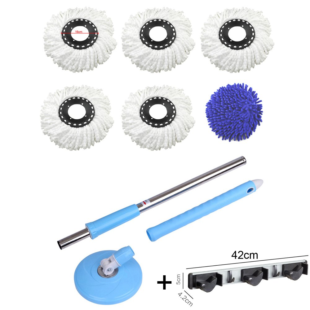 360° Rotating Spin Magic Mop Replacement BLU with 6 mop head combination (Regular) MEC