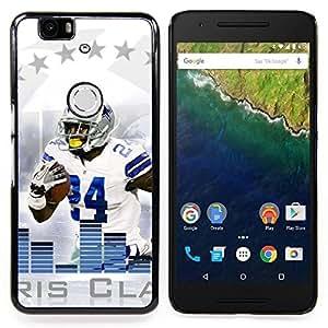 - 24 Football Player - - Cubierta del caso de impacto con el patr??n Art Designs FOR Huawei Nexus 6P Queen Pattern