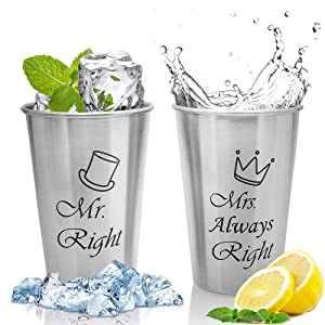 Unbreakable Love,Mr Right and Mrs Always Right Couple Mug,Stainless Steel Cups,Beer Cups,Perfect Present for Wedding,Engagement Newlyweds,Anniversary,Couples,Birthday,Bridal Shower