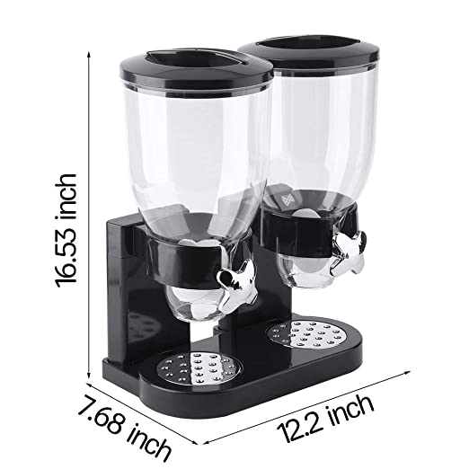 Amazon.com: Cereal Dispenser, 2 Tanks Dry Food Dispenser, Double Chambers Airtight Kitchen Storage, Twin Container Dual Control Food Dispenser, ...