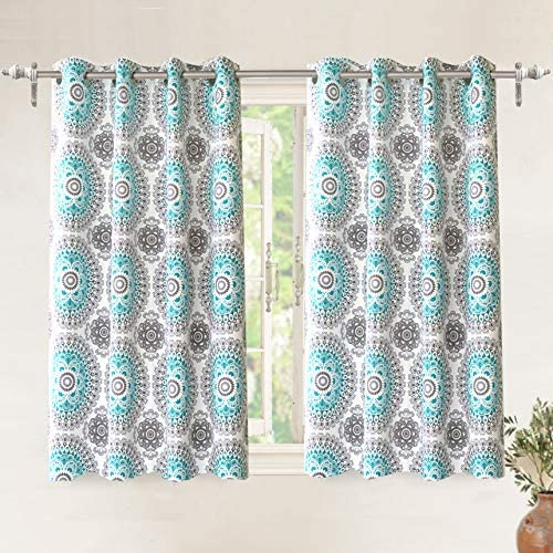 DriftAway Bella Medallion and Floral Pattern Room Darkening and Thermal Insulated Grommet Window Curtains 2 Panels Each 52 Inch by 54 Inch Aqua and Gray