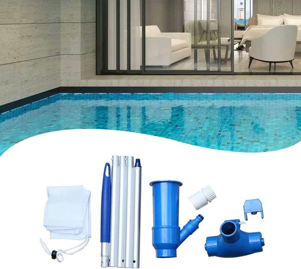 Fountains /& Hot Tub Pond Portable Swimming Pool Vacuum Jet Cleaner Pool Cleaning Kit with Brush 5 Detachable Poles Spa Bag Mini Jet Vacuum Cleaner Tool for Above Ground Pool
