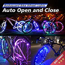 Bodyguard Bike Wheel Lights - Auto Open and Close - Ultra Bright LED - Bike Wheel Spoke / Light String (1 pack) - Colorful Bicycle Tire Accessories- Waterproof (White)