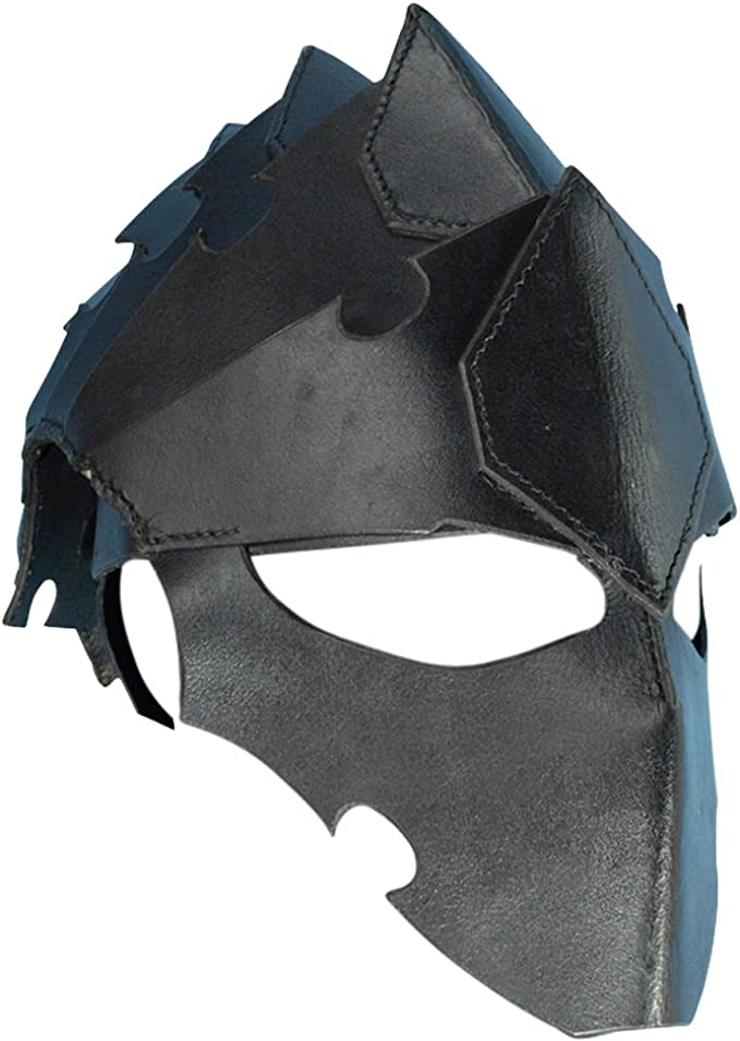 Full Face Leather Assassin/'s Helmet in 2 Colours Stage,Costume /& Re-enactment