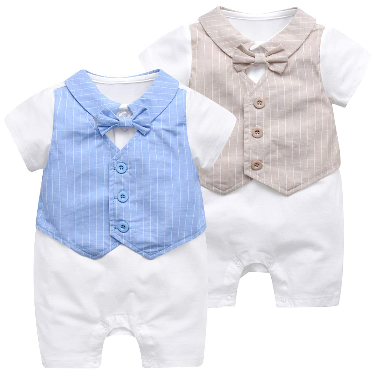 Kanodan Baby Toddler Boys Striped Gentleman Suits Summer Onesies Jumpsuit Outfits