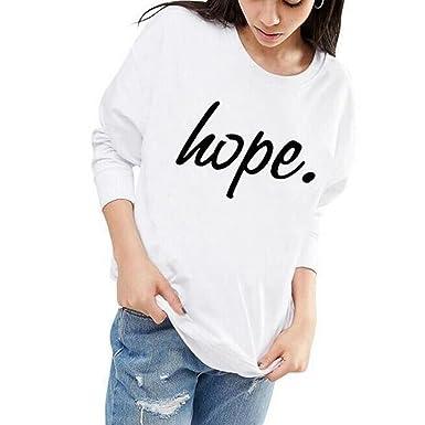 adbdbad278186 Femme Sweat-Shirt à Manches Longues Mode   Hope .   Imprimée Sweats ...
