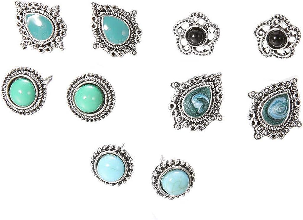 HINK 5 Pares de Pendientes de Piedras Preciosas turquesas Elegantes Retro Pendientes de Bohemia Joyas Joyas y Relojes Pendientes